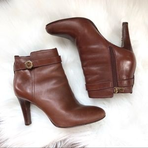 Tory Burch Leather Brita Brown Booties